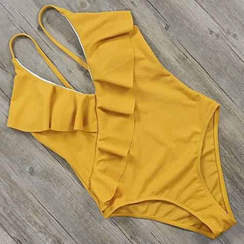 GUOZI Bikini Halter Effen Een Stuk Badpak Vrouwen Badmode Ruche Backless Baden Push Up Bodysuit Gewatteerd