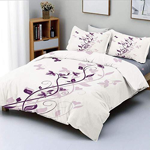 Juego de funda nórdica, árbol violeta, flores de color lila persa, con gráfico de planta ornamental de mariposa, juego de cama decorativo de 3 piezas con 2 fundas de almohada, blanco púrpura,