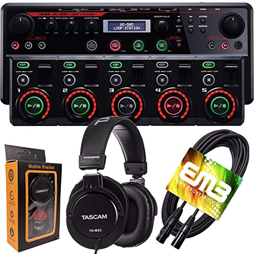 Boss RC-505 Loop Station Tabletop Looper Station with Five Stereo Tracks and DJ Pro Headphone with XLR Cable and Gravity Magnet Phone Holder Bundle