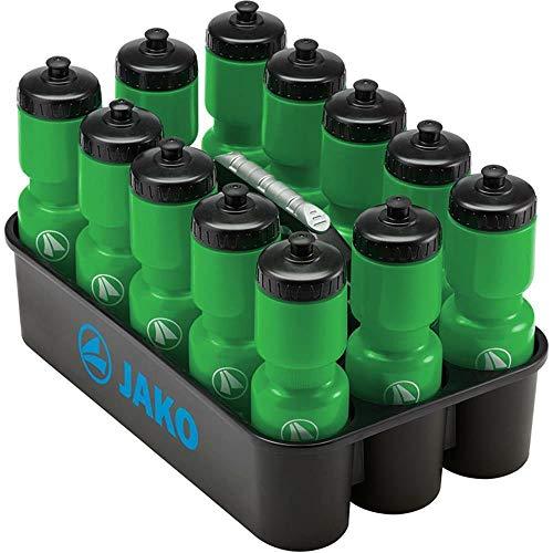 Sport-Kanze Jako Trinkflaschenhalter Profi inkl. 12 Jako Trinkflaschen grün