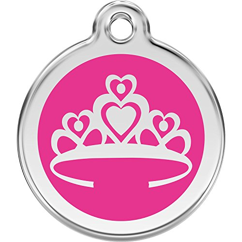 Red Dingo Personalized Crown Pet ID Dog Tag (Medium Hot Pink)