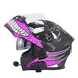 Modular Motorcycle Bluetooth Helmets, Flip up Dual Visor Full Face Helmets, DOT Approved Helmet for Men Women, Built-in Mp3 FM Radio Integrated Intercom Communication System, Waterproof,Black Pink,M
