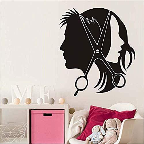 Friseursalon creatieve muursticker Mooie meisjes mannen kappersschaar vinyl sticker kapper behang Home Decoration 44x51cm
