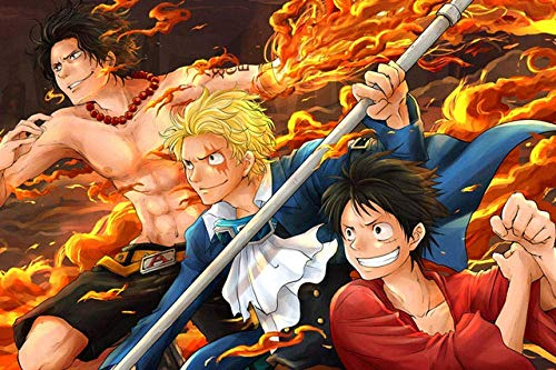 ERTYG Jigsaw 1000 pièces Puzzles en Bois Paper Three Brothers Luffy Ace Sabo One Piece Anime Pattern * Puzzle pour Enfants Game Toys Gift