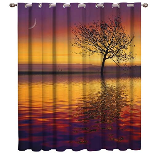 BJGCWY Sunset Lake Tree Reflection Room Cortinas Ventana Grande Cortinas De Ventana Dark Living Room Kitchen Interior Fabric Decor Kids Window