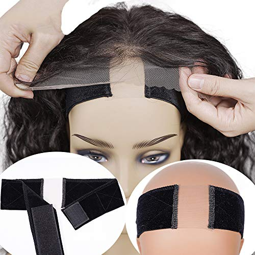 Buladou Lace Wig Grip Band for Wig and Hat Mothers Day Gift Non Slip Adjustable Headband Comfort Velvet Women Hair Scarf with 1 Wig Cap (Black)