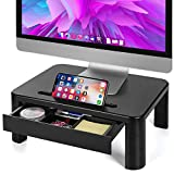 LORYERGO Monitor Stand for Desk with 3 Adjustable Height for PC Monitor, Laptop, Printer, Monitor Desk with Storage Organizer, Relieve Neck Pain -Plastic