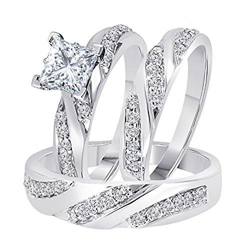 DS Jewels Hombre Unisex Mujer Plata fina 925 Plata chapada en oro blanco princesa redonda Cubic Zirconia