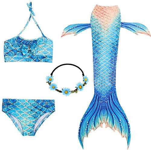2XDEALS Costumi da Bagno Sirena Bambina Coda di Sirena per Nuotare Bikini 4pcs per Ragazze (11-12 Anni, Blu