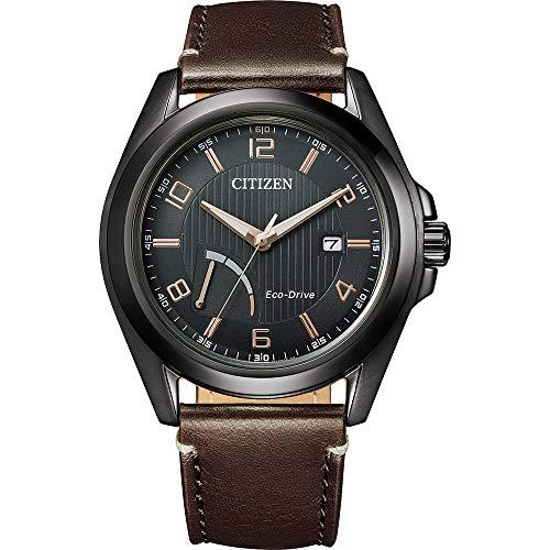 Citizen Herren Analog Eco-Drive Uhr mit Leder Armband AW7057-18H