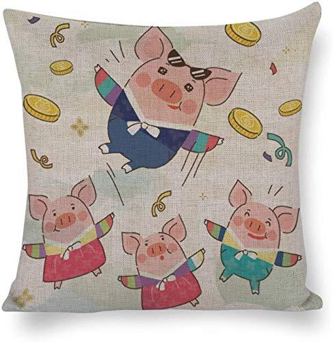 Funda de Almohada Liviana y Personalizable de algodón y cáñamo Doble Moneda Coreana de Cerdito y Cerdo para decoración Casa de muñecas para bebés Terr