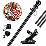 DonSail Flag Pole Kit for House with Holder, 4FT Black Tangle Free Flagpole with Heavy Cast Metal Bracket, Stainless Steel & Rust Proof, Residential & Commercial