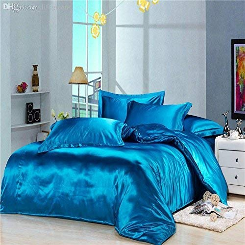 Best Bedding Luxurious Ultra Soft Silky Satin 7 Piece (1 Flat Sheet + 1 Fitted Sheet + 1 Duvet Cover + 4 Pillowcases) Comfortable Bed Sheet Set with 16 inches Deep Pocket, Turquoise Blue, Short Queen