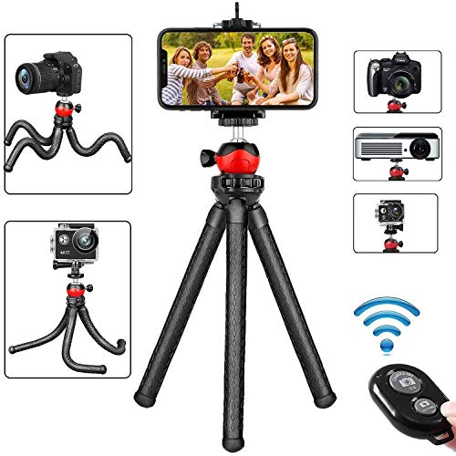Phone Tripod, Flexible Cell Phone Tripod Adjustable Camera Tripod Stand Holder with Wireless Remote 360° Rotating Flexible Tripod Compatible for iPhone Samsung Android Phones DSLR Gopro Camera
