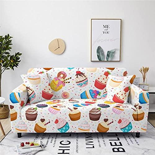 Helado de Colores Funda de sofá de 3 Plazas Funda Elástica para Sofá Poliéster Suave Sofá Funda sofá Antideslizante Protector Cubierta de Muebles Elástica