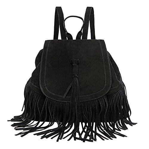 Fashion Womens Mesdames filles glands de voyage sacoche sac à dos école Sac Funny épaules sac d'embrayage sac à dos, noir (Noir) - zsl-123