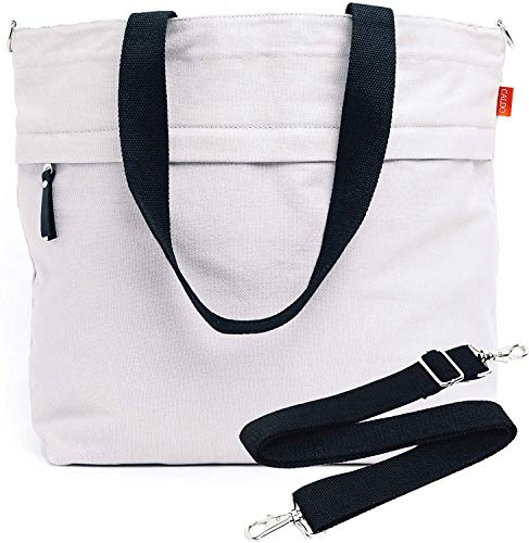 Caldo Canvas Market Tote - Large Multipurpose Travel Bag with Outer Zipper Pocket, Inner Pocket, and Adjustable Shoulder Strap- Reusable Bag for Groceries, Work, Laptop, or Beach (Pewter)