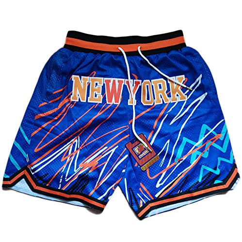 Basketball Sports Mesh Shorts Knicks Basketball Shorts Blitzgestickte Shorts Polyester Schnelltrocknende Turnhose A-XL
