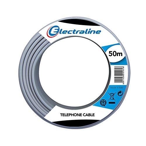 Electraline 14008 Cavo Telefonico/Citofonico, 2 Coppie e Messa a Terra, Lunghezza 50 m, Grigio