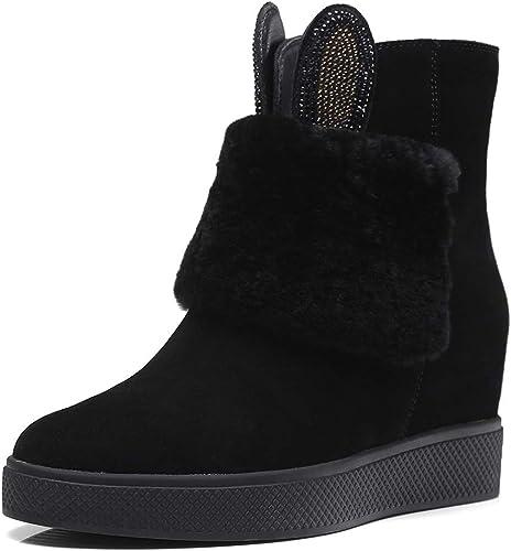 Yanyan Bottines pour Femmes, Chaussures Rehaussantes Invisibles Bottes Chaudes en Daim d'hiver Bottes compensées Bottines compensées élégant Mignon Chaussures