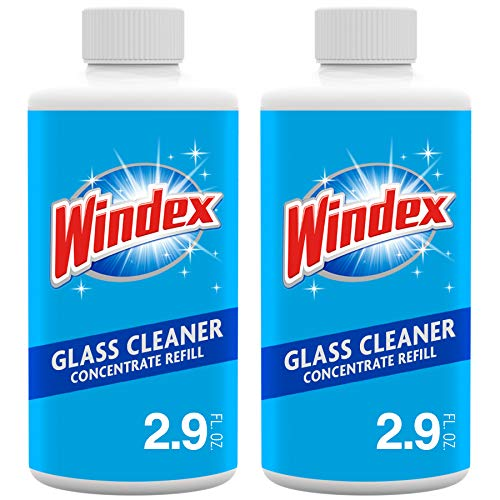 Windex Glass and Window Cleaner Concentrate, Two 2.9 oz Glass Cleaner Refill Bottles
