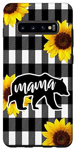 Galaxy S10+ Buffalo Plaid and Sunflower Mama Bear Phone Case Gift Case