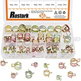 Rustark 55Pcs Spring Band Type Action Fuel Line Silicone Vacuum Hose Pipe Clamp Low Pressure Air Clip Clamps...