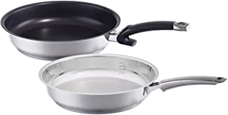 Fissler Steelux Premium Crispy & Protect / Non-Stick Fry-Pan Set, (8-Inches), Stainless Steel Cookware, Compatible-Stovetops: Induction, Gas, Electric, Dishwasher-Safe