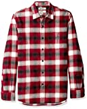 Amazon Brand - Goodthreads Men's Slim-Fit Long-Sleeve Brushed Flannel Shirt, red Shadow Plaid, Medium