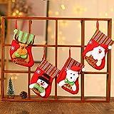 Dioxide Medias de Navidad,Juego de 4 Calcetines de Navidad Regalode Decoración Bordado de Muñeco Nieve Mini Botas Bolsillo Calcetín de Tartán de Felpa Roja para Año de Dulces Presenta