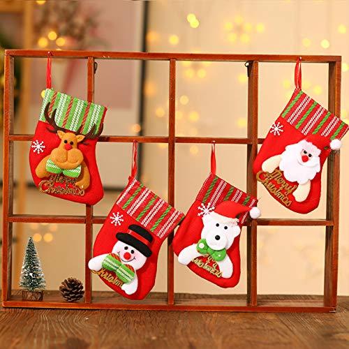 Chaussette de Noel, Lot de 4 Chaussette Noel a Suspendre, Cartoon Deco Noël Sapin Père Noël Bonhomme de Neige Sac Cadeau pour Decoration Noel Cheminée Vitrine Sac de Bonbons