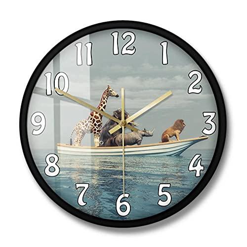 Animales Salvajes sentados en un Barco 3D Render Ilustración Reloj de Pared León Rinoceronte Elefante Jirafa Vida Salvaje Africana Decoración para el hogar Reloj-Metal_Frame