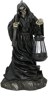 YK YesKela Large River Styx Beacon Grim Reaper Charon Holding Scythe and LED Lantern Statue