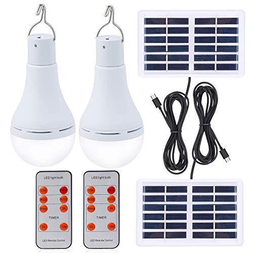 Afoskce Solar Light Bulb Outdoor Rechargeable...