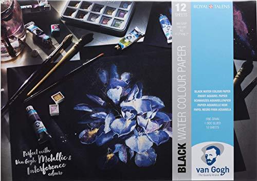 Van Gogh Watercolor Paper Pad, 140lb, Black Paper, 12 Sheets, 11.7' x 16.5' / A3