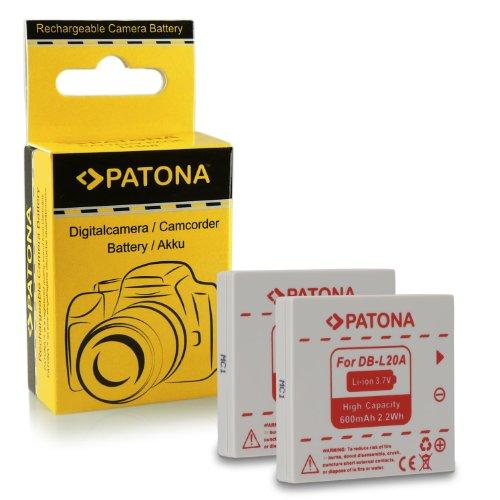 PATONA 2X Akku DB-L20 kompatibel mit Sanyo Xacti DMX-C1 DSC-J4 VPC-C1 VPC-C40 VPC-CA6