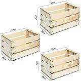 Set de 3cajas de fruta de madera, resistentes y de color neutro para estanterías y librerías, 50x 30x 28 cm