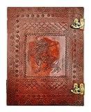 Kooly Zen – Cuaderno de diario, libro, álbumes, bloc de notas, cuaderno de dibujo, scrapbook, trepador, piel auténtica, unicornio, cierre de metal, 25 x 33 cm, 200 páginas, papel premium Titre