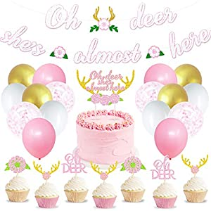 """GREAT DEER BABY SHOWER ADDITIONS - Hanging this adorable """"Oh deer she's almost here"""" banner up on the mantel or over the goodies table and adorning the beautifully frosted cupcakes with cute boho flowers, antlers, and the beautiful cake topper is sur..."""