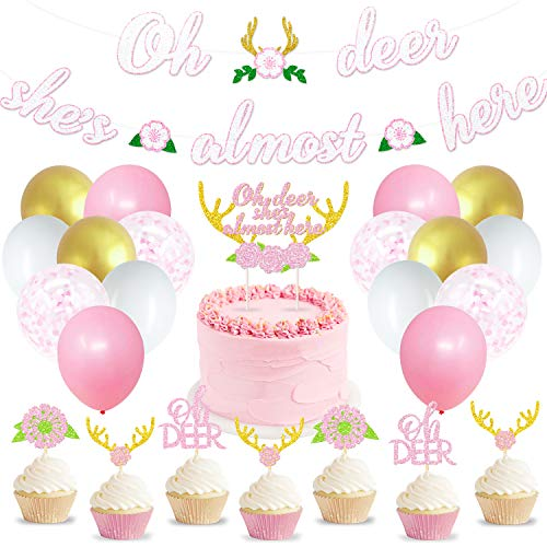 50 Pcs Oh Deer Party Decoration Kit, Woodland Deer Baby Shower Supplies Hunting Antlers Boho Floral Themed cake toppers, Oh Deer She's Almost Here Banner, Forest Party for Baby Girl