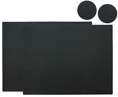 FREIRAUM-Trend - Set di 2 tovagliette (2 pezzi), rettangolari, in ecopelle, ca. 45 x 35 cm, con 2 sottobicchieri rotondi in ecopelle, colore nero, diametro 10 cm