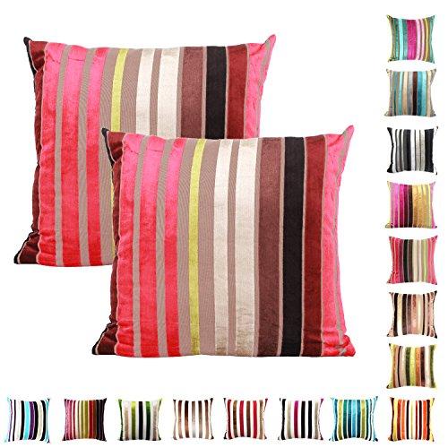 Queenie–2PCS Chenille Stripe Dekorative Kissenbezug Kissenbezug für Sofa Überwurf Kissen Fall erhältlich in 15Farben & 5Größen, baumwolle, 003, 22' x 22' (55 x 55 cm)
