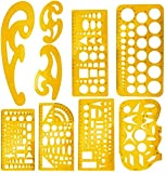 [9 Verschiedene Vorlagen] Enthalten: Multifunktionale Zeichenvorlage, Kreisvorlage, Mathematik-Lernvorlage, Gebäudevorlage, Vorlage für geometrische Zeichnungen, Elektriker-Vorlage und 3 * -Kurvenvorlage [Hohe Qualität] Hergestellt aus hochwertigem K...