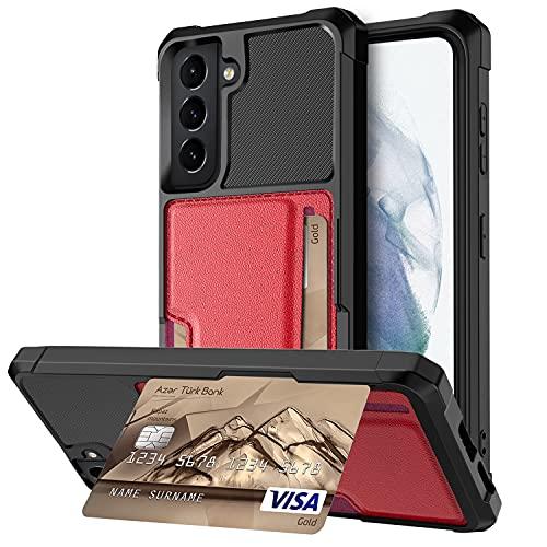 Compatible con Samsung Galaxy S21 Funda con tarjetero, PC duro + TPU flexible antigolpes y protección contra caídas [con soporte] Funda para teléfono móvil, placa de metal magnética incorporada (rojo)