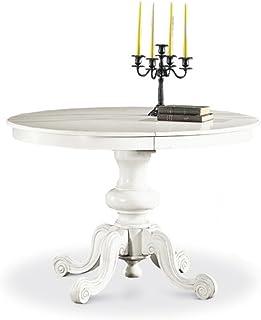 Table avec 1 rallonge DE 38 cm, Style Classique, en Bois Massif et MDF - Mes. 120X120+100% Made in Italy