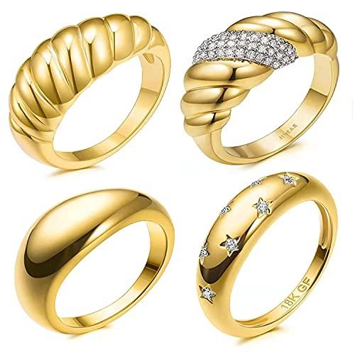 4Pcs 18k Anillos de cúpula de croissant gruesos chapados en oro Anillo de banda apilable de sello retorcido grueso Tamaño de anillo minimalista (5 a 10)