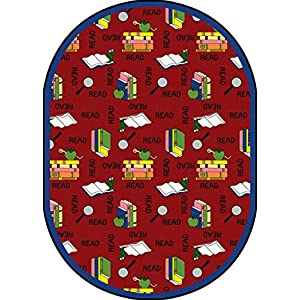 Joy Carpets Kid Essentials Language & Literacy Oval Bookworm Rug, Red, 7'8″ x 10'9″