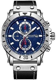 Megir ML 2081 Leather Round Analog Watch for Men - blue