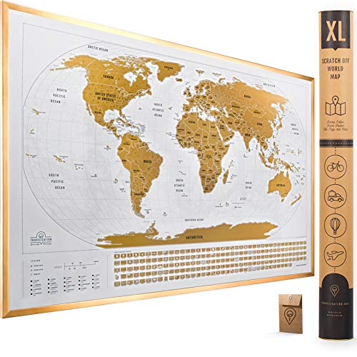 XL Scratch Off Map of The World with Flags - 36 x 24 Easy to Frame Scratch Off World Map Wall Art Poster with US States & Flags - Original World Map Scratch Off Travel Map Designed for Travelers
