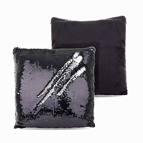 SenPuSi Funda de Cojín con Lentejuelas Sirena Dos Colores Mágica Magia Reversible Funda de Almohada Decorativo sofá, Coches y sillas 40x40cm/ 16x16 Pulgadas (Negro)